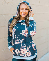 Casual Flower Hoody with Pockets 26721-3