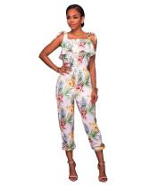 Wide Straps Floral Jumpsuits 27460-2