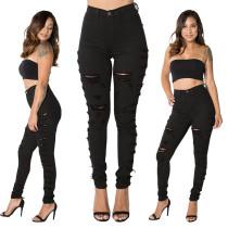 Schwarze, gerippte Jeans mit hoher Taille 27179-1