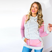 Stripped Patchwork Hoody Top with Pockets 27587-1