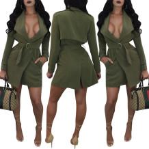 Casaco verde comprido com cinto 27356-2