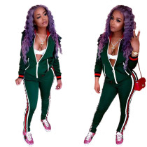 Green Tracksuit with Contrast Bands 27551