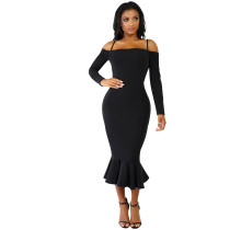 Under-Knee Straps Party Dress with Fishtail 27532-1