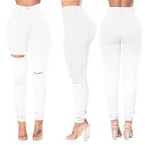 Weiße, zerrissene Jeans mit hoher Taille 27314