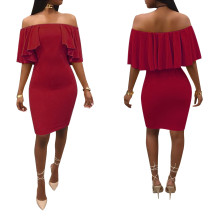 Sexy Off Shoulder Ruffle Bodycon Dress 27196-2