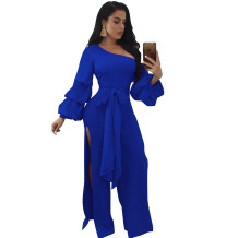 One Shoulder Split Jumpsuit with Puff Sleeves 27193-2