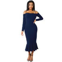 Under-Knee Straps Party Dress with Fishtail 27532-2