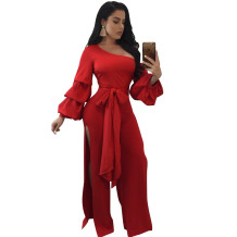 One Shoulder Split Jumpsuit with Puff Sleeves 27193-3