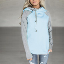 Block Colors Hoody Tops 27564-1