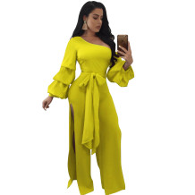 One Shoulder Split Jumpsuit with Puff Sleeves 27193-5