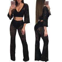 Black Lace Crop Top and Pants  27440