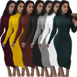 Under-Knee Sheath Dress with Pockets and Waist Belt 27550-5