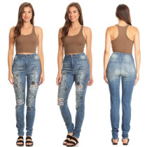 High Waist Fitting Print Jeans 27487
