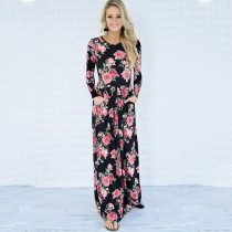 O-Neck Maxi Dress with Floral Print  27769-1
