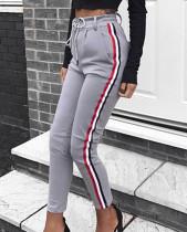Pantalón deportivo con tiras en la cintura y bandas de contraste 27863-5
