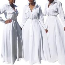 Langes weißes Kleid mit Kragen 27906