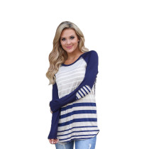 White and Blue Stripped Top with Sleeve 27865-2