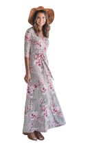 Langärmliges Kleid mit V-Ausschnitt und Ärmeln 27887-2