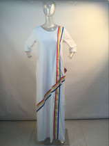 White Long Straight Dress with Colorful Bands 27722-2
