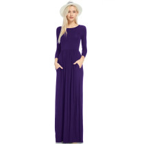 Round Neck Modest Long Dress with Long Sleeves 27729-5