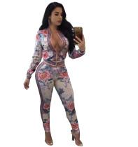 Chaqueta y pantalones con estampado floral 27868-1