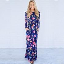 Vestido largo con cuello redondo y estampado floral 27769-2