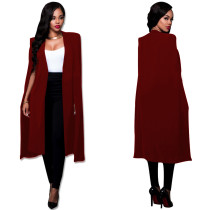 Blazer long occasionnel grande taille rouge 23614-3