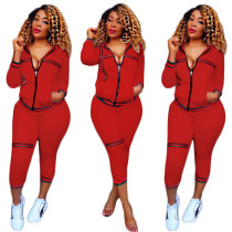 Red Tracksuit with Contrast Bands 27855-2