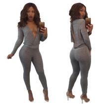 Sexy V-Neck Jumpsuit mit offenem Rücken 28417-2