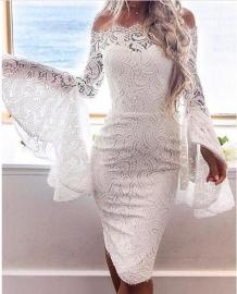 White Lace Off Shoulder Party Dress with Wide Cuffs 28296