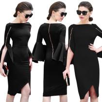Vestido negro ocasional con puños anchos 28162