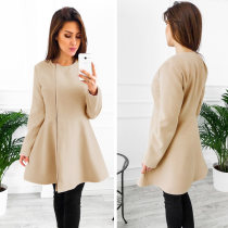 Solid Zipped Dress Coat 28343-3