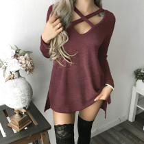 Sexy Lace-Up Long Sleeve Tops 28064-3
