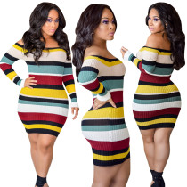 Colorful Stripped Long Sheath Dress with Off Shoulder 28378