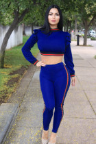 Ruffles Crop Top and Pants with Contrast Bands 28001-2