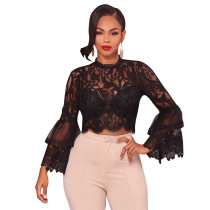 Sexy Black Lace Crop Top 28026-1