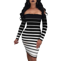 Off Shoulder Stripped Party Dress with Ruffles Trims 28331-1