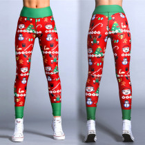 Red and Green Christmas Fitness Yoga Pants 28438