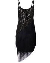 Robe de soirée noire à sequins et glands 28056