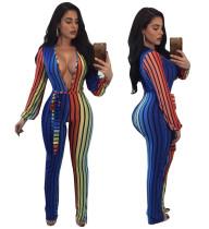 Sexy Jumpsuit mit V-Ausschnitt und bunten Streifen 28082