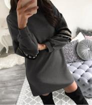 Vestido de suéter sólido con mangas decoradas 28342-2