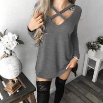 Sexy Lace-Up Long Sleeve Tops 28064-2