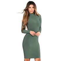 High Neck Plain Short Dress 28445-3