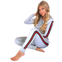Hoody en blanco y pantalones con bandas de contraste NY_8472-5