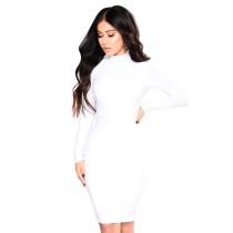 Vestido corto liso con cuello alto 28445-6