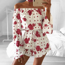 Sexy Off Shoulder Flower Rompers