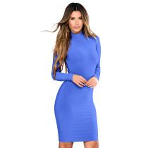 High Neck Plain Short Dress 28445-2