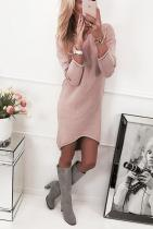 Round Neck High-Low Sweater Dress 28504-2