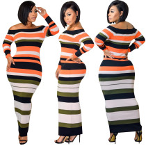 Sexy Colorful Stripped Long Curvy Dress AS_7540