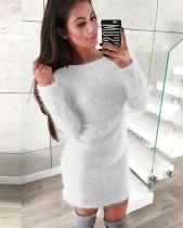 Vestido de pelúcia curto liso